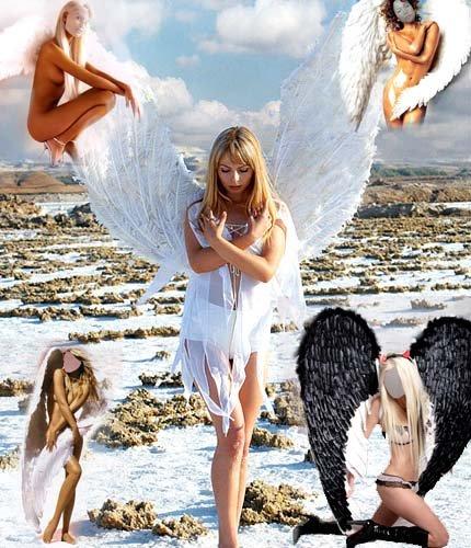 Шаблоны для фотомонтажа - в роли ангелов