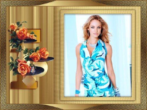 Женская рамка - с розами в красивом обрамлении