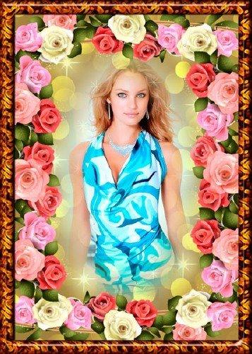 Женская рамка с розами