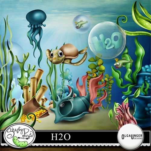 Морской скрап-набор - H2O - формула воды