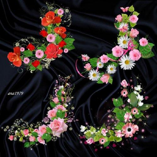 Цветочные уголки - Розы и сердечки