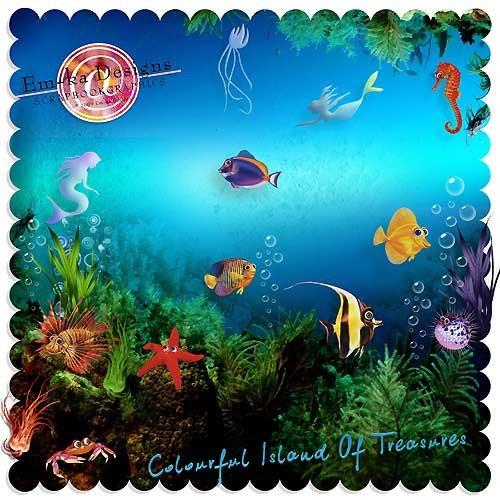 Морской скрап-набор - Красочный остров сокровищ