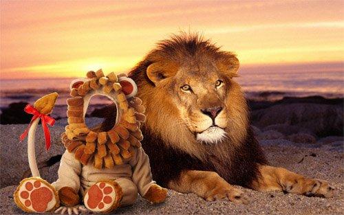 Шаблон для фото - в костюме льва