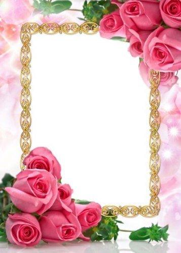 Рамка для фотошоп - Розовый букет