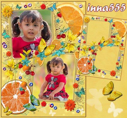 Детская рамка на 2 фото, украшенная цветочками, бабочками, апельсинами, клубникой, вишней