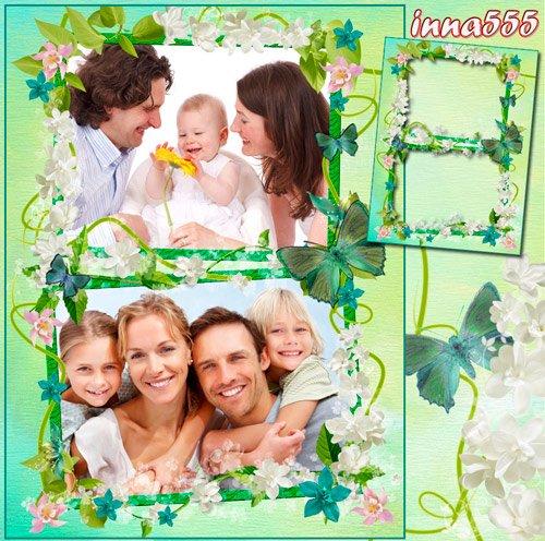 Нежная зелено-голубая рамочка для двух фотографий с цветочками и бабочками