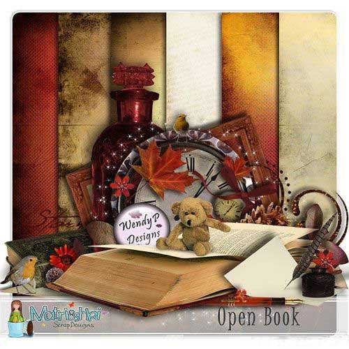 Осенний скрап набор - Открытая книга