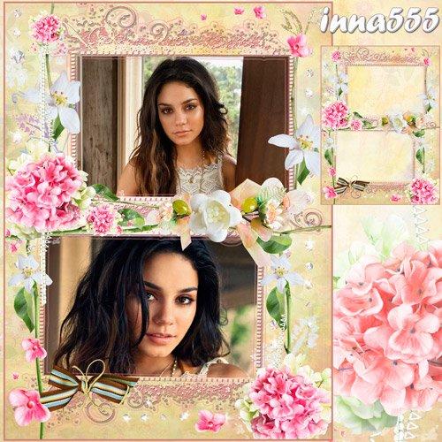 Женская рамка для двух фотографий - Нет ничего прекрасней, чем нежный аромат цветов