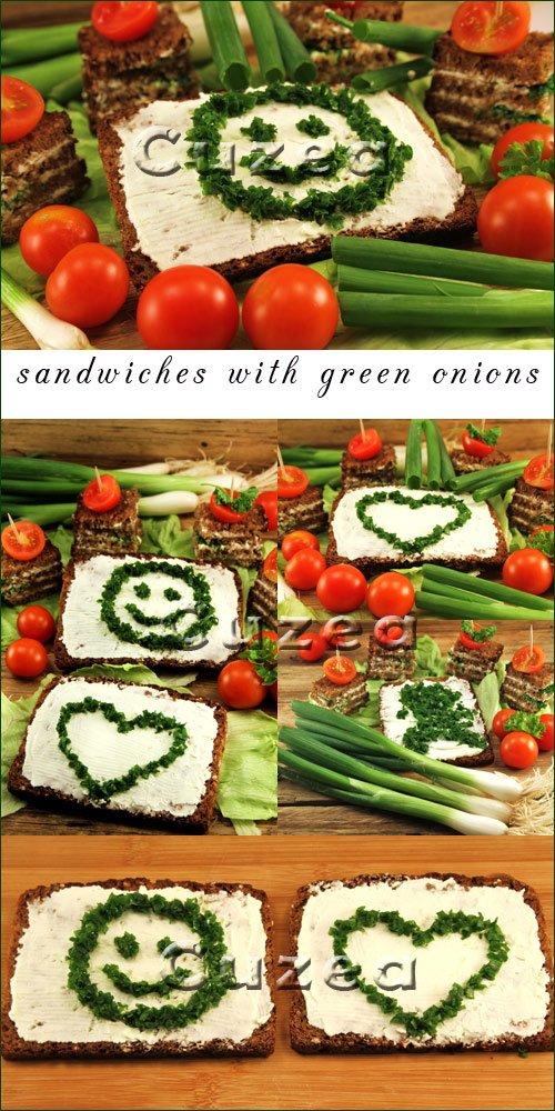 Сэндвич с зелёным луком, черным хлебом и спелыми томатами - растровый клипарт