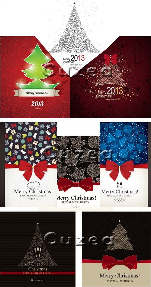 Рождественские карточки с бантами для меню в векторе