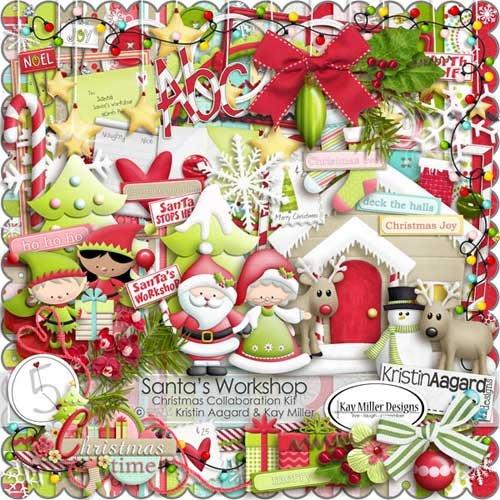 Зимний скрап набор - Производство Деда Мороза
