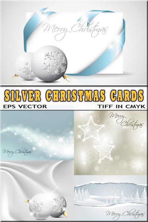 Серебрянные открытки письма праздничные (растр и вектор)