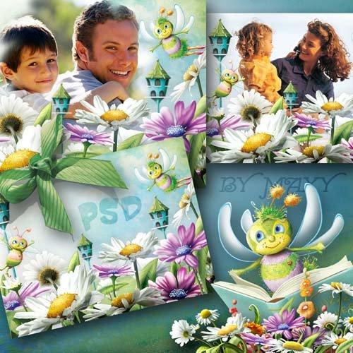 Фоторамка детская для фотошопа - Пчелки живут на лугу