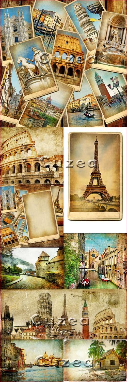 Старинные открытки достопримечательностей мира - Stock photo