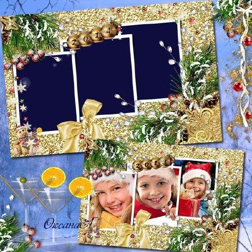 Рамка новогодняя на три фото – Пусть все в золоте сияет