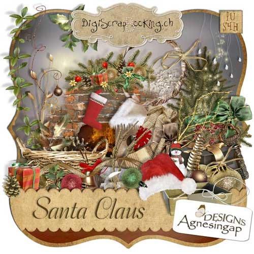 Новогодний скрап-набор - Дед Мороз