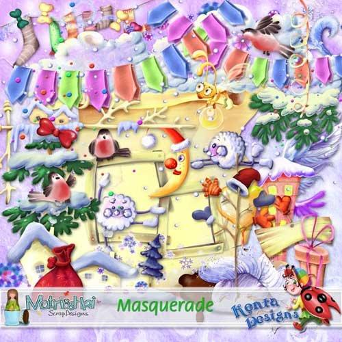 Рисованный новогодний скрап-набор - Новогодний маскарад