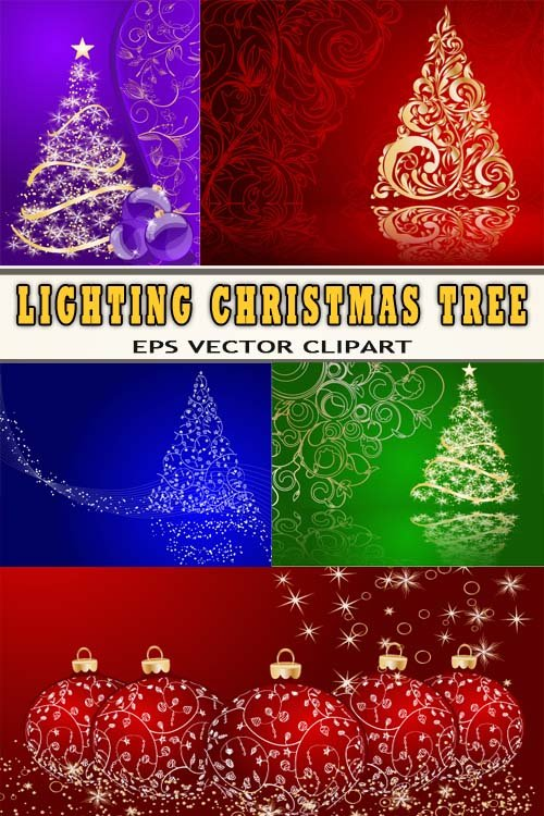 Яркие постеры новогодние - мигающие ели (векторные)
