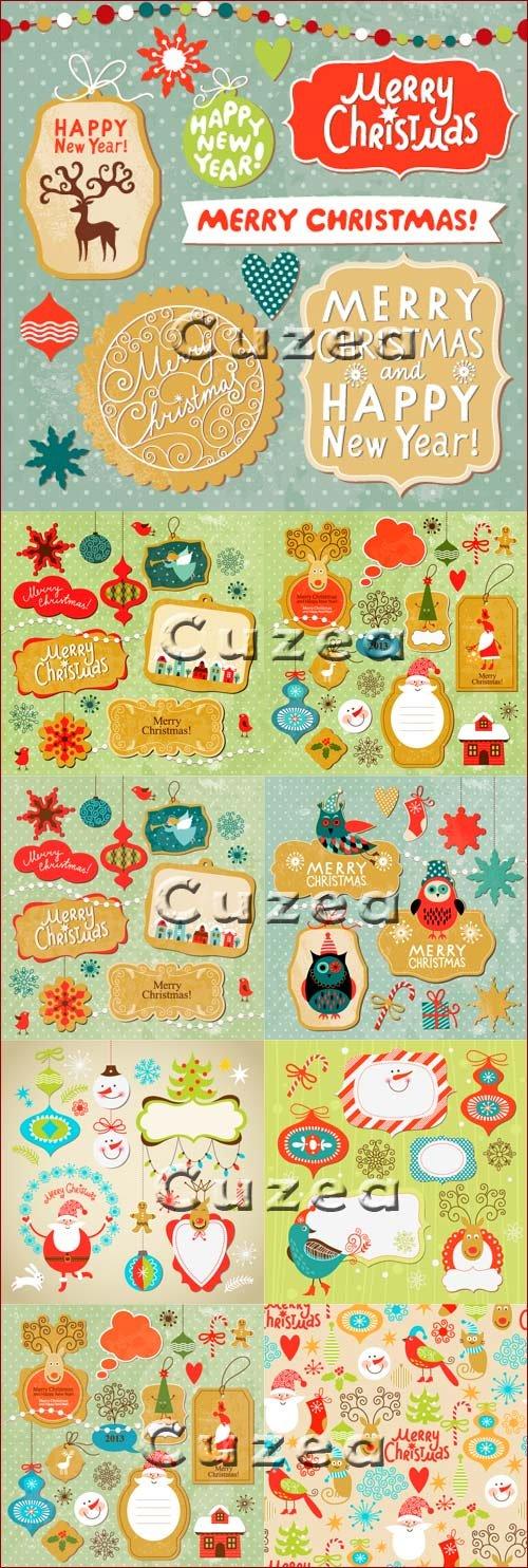 Рождественские  и Новогодние старинные элементы в векторе