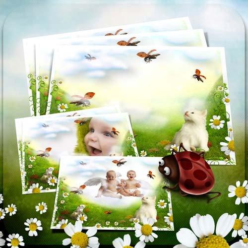 Фоторамка детская для фотошопа - Цветочная полянка