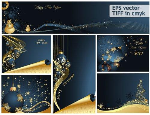 Яркие темно-синие рождественские открытки (eps vector)