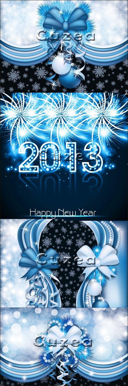 Векторные элементы для оформления открыток к новому году в черно-синем цвете