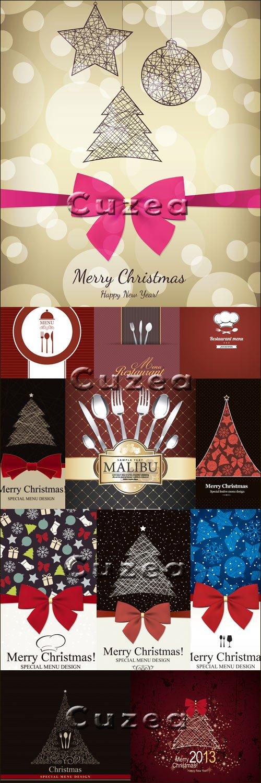 Рождественские обложки меню в векторе
