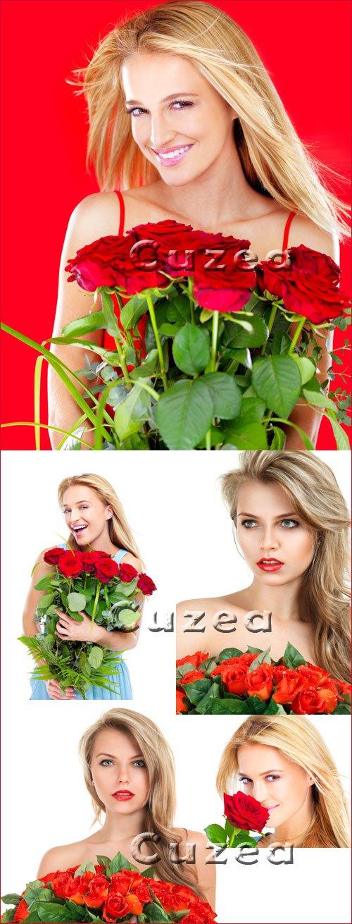 Девушка с розами - Stock photo