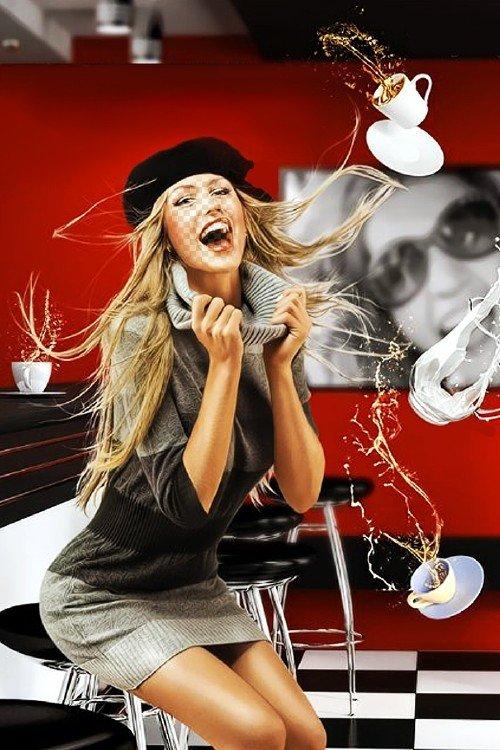 Женский фотошаблон - Кофе Тайм