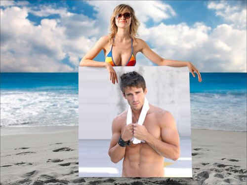 Мужская рамка - девушка на пляже