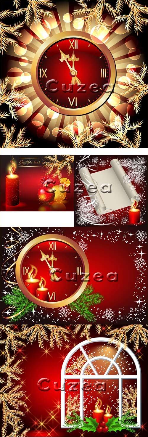 Праздничные новогодние элементы с часами в векторе