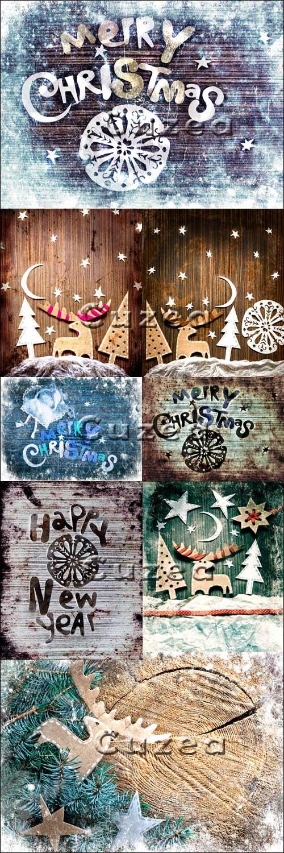 Винтажные рождественские фоны с оленем в синем и коричневом тоне - Stock photo