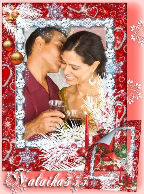 Рамка для романтического фото - Зима и любовь при свечах