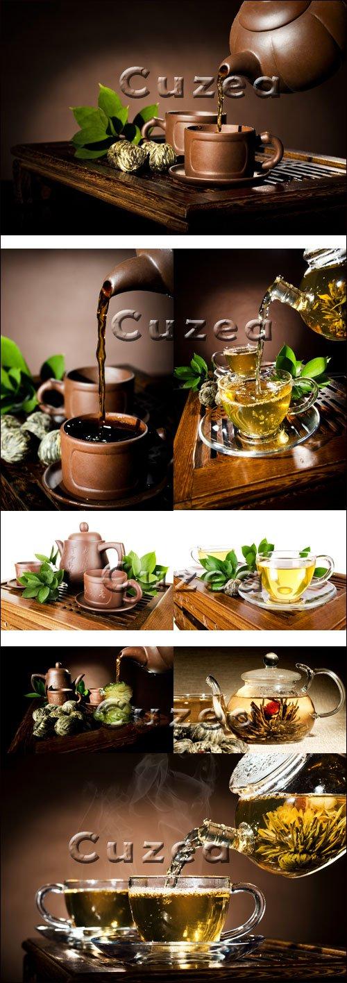 Зелёный и чёрный чай - Stock photo