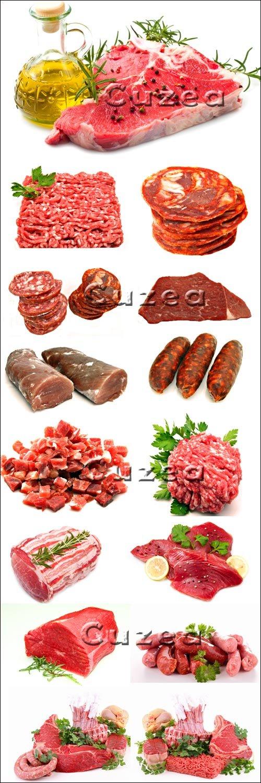 Мясо разных сортов на белом фоне - Stock photo