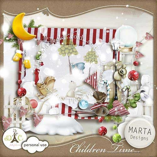 Детский зимний скрап-набор - Детское время