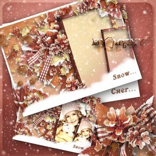 Рамка зимняя для фотошоп - Первый белый снег