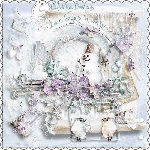 Зимний скрап-набор - Любовь начинается с зимы