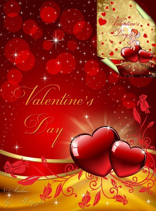 PSD Исходники - Символ Дня Святого Валентина маленький крылатый ангелочек Купидон