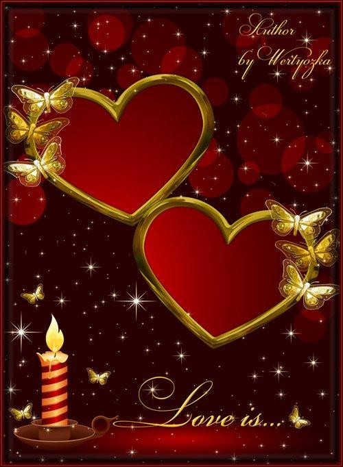 Романтичная рамка для фотошопа - Влюбленные сердца, свеча и золотые мотыльки