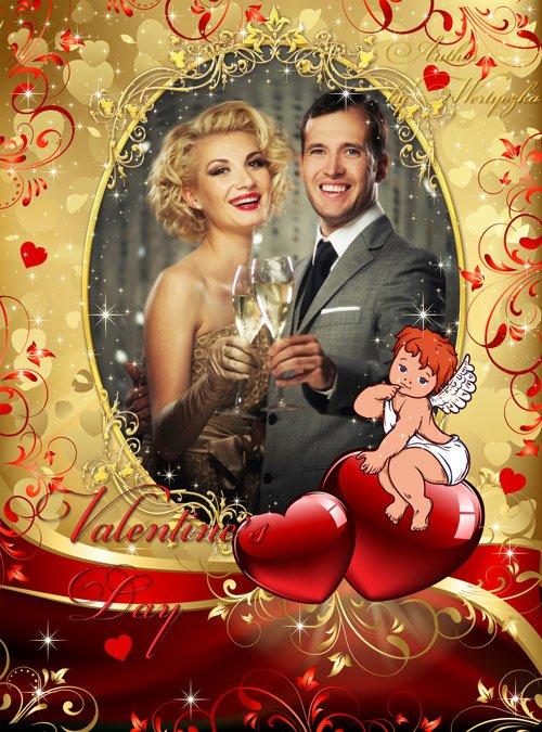 Романтичная рамка для фотошопа - Валентинов день, сердечки, ангелочек, день влюбленных, золотые орнаменты
