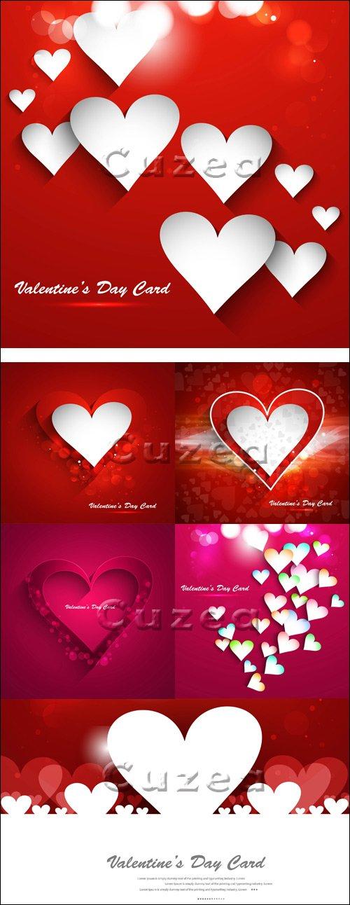 Красные сердца на сиящих фонах в векторе