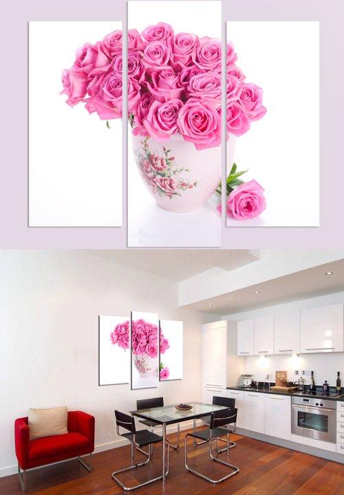 Триптихи и полиптихи в psd формате - Ваза с розами, розовые розы, чайник, чашка, чай
