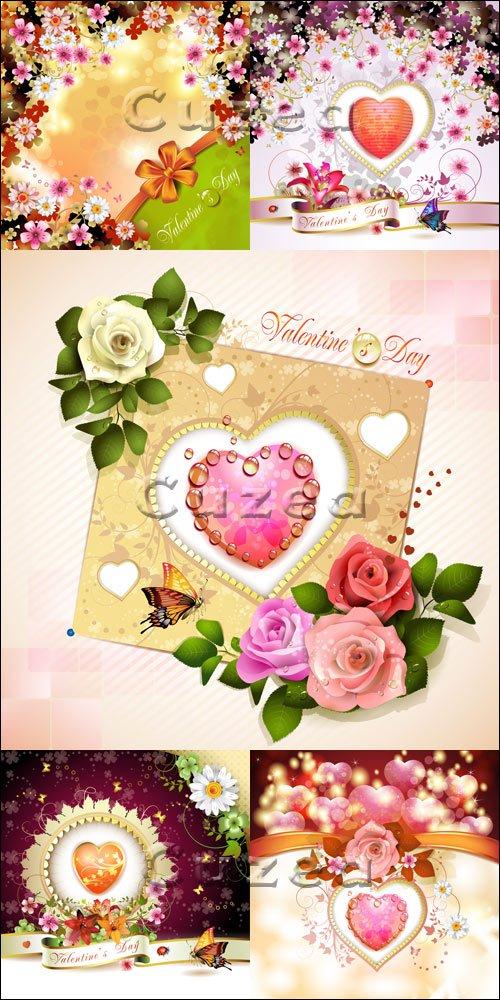 Розы, ленты, рамки и сердца ко дню Валентина в векторе