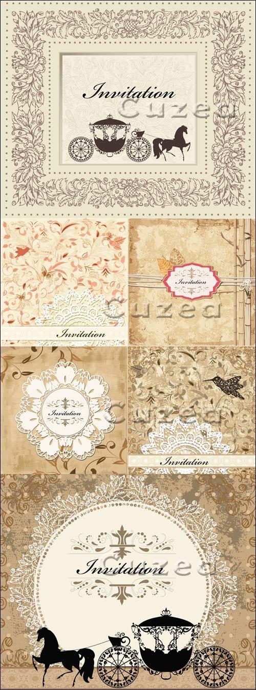 Свадебные пригласительные открытки в векторе