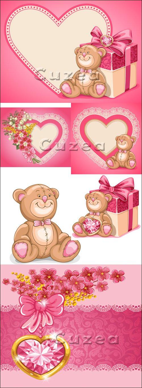 Винтажные сердца с цветами и драгоценными камнями к празднику Валентина в векторе