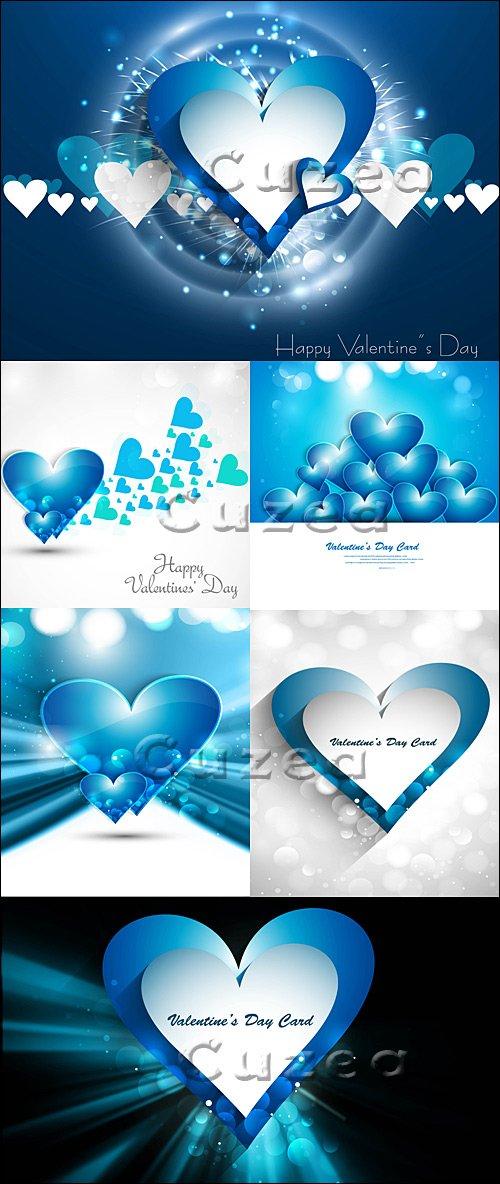 Фоны и постеры с сердцами ко дню валентина в синем тоне - vector stock