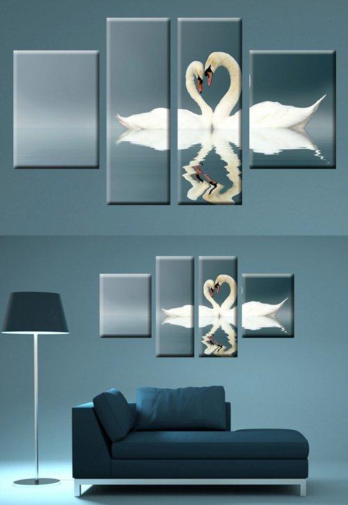 Полиптихи в psd формате - Белые лебеди, пара лебедей