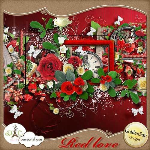 Романтический скрап-набор ко дню влюбленных - Любовь в красном