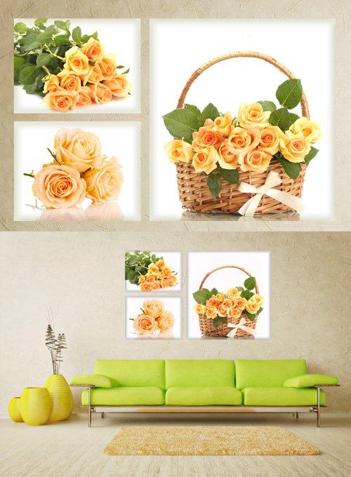 Розы, корзинка с розами, букет красивых роз - Полиптихи в psd формате
